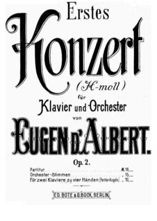 Piano Concerto No.1 in B Minor, Op.2: Versão para dois pianos de quatro mãos by Eugen d'Albert