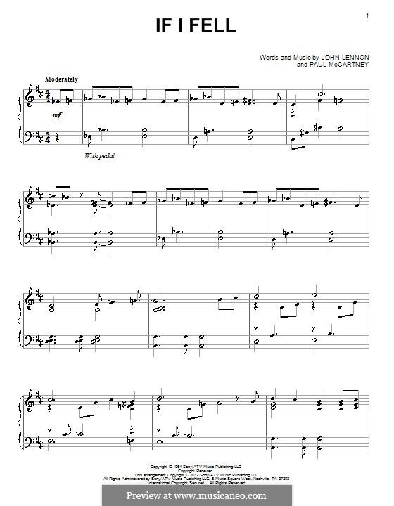 If I Fell (The Beatles): Para Piano by John Lennon, Paul McCartney