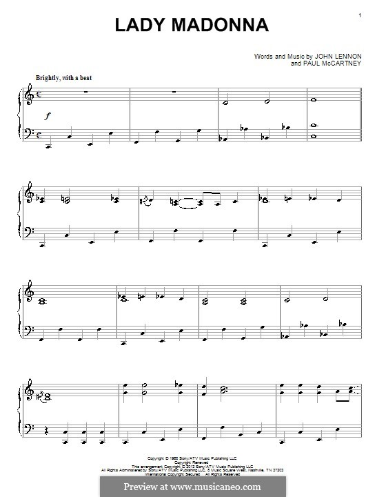 Lady Madonna (The Beatles): Para Piano by John Lennon, Paul McCartney