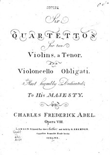 Six String Quartets, Op.8: violino parte I by Carl Friedrich Abel