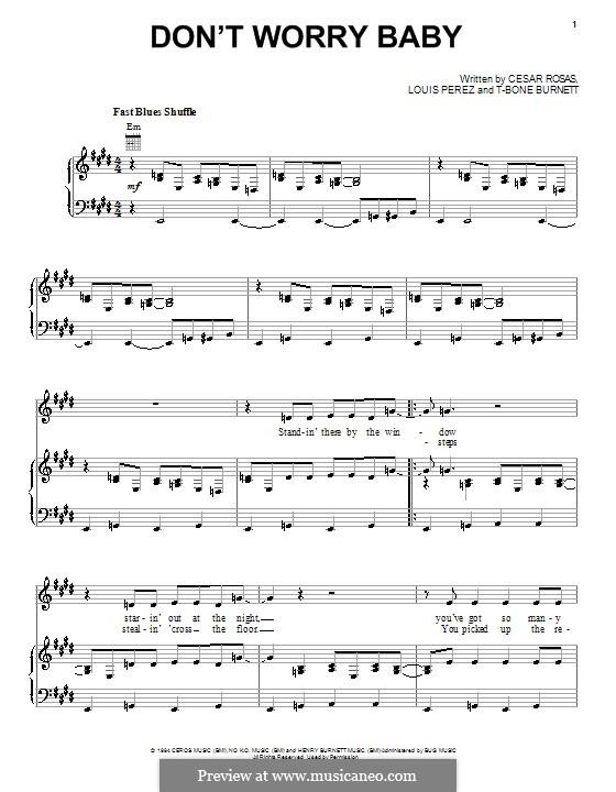 Don't Worry Baby (Los Lobos): Para vocais e piano (ou Guitarra) by Louis Perez, T-Bone Burnett