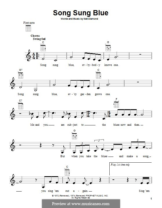Song Sung Blue: para ukulele by Neil Diamond