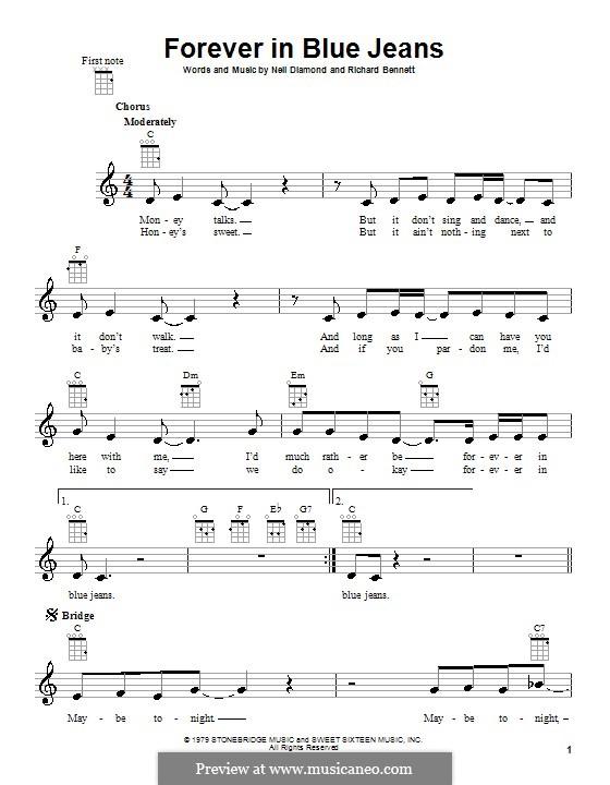 Forever in Blue Jeans: para ukulele by Richard Bennett