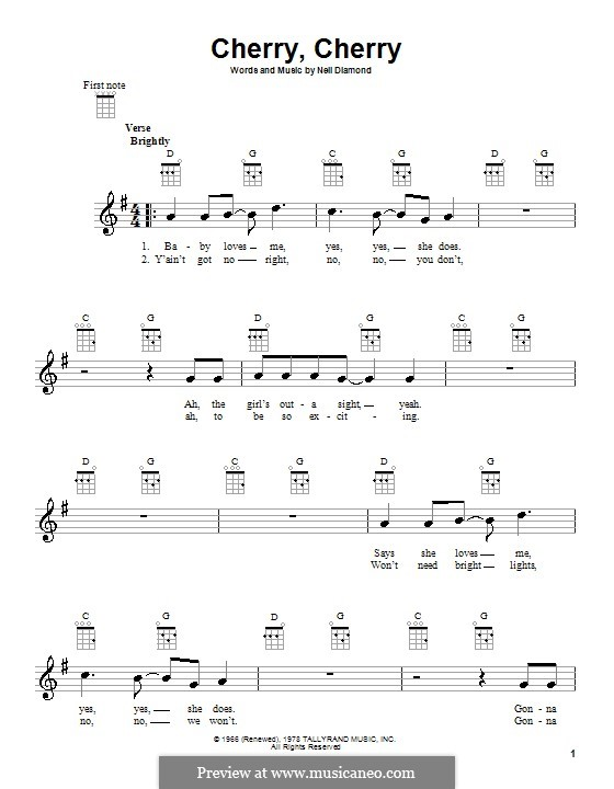 Cherry, Cherry: para ukulele by Neil Diamond