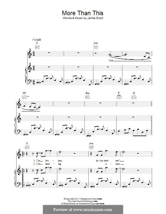More Than This (One Direction): Para vocais e piano (ou Guitarra) by Jamie Scott