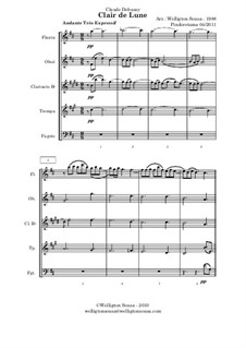 No.3 Clair de lune: For wind ensemble (or quintet) by Claude Debussy
