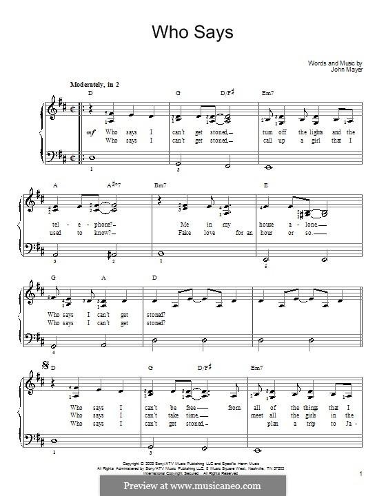 Who Says: Para Piano by John Mayer