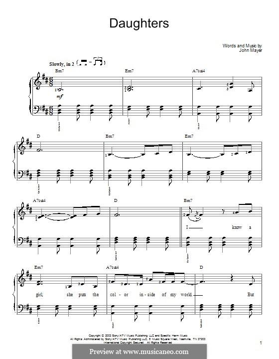 Daughters: Para Piano by John Mayer