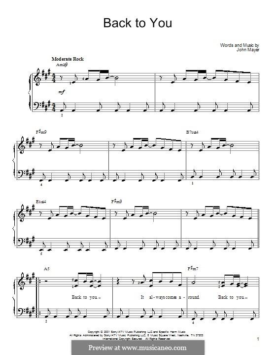 Back to You: Para Piano by John Mayer