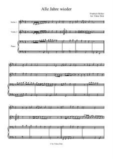 Alle Jahre wieder: para dois violinos e piano by Friedrich Silcher
