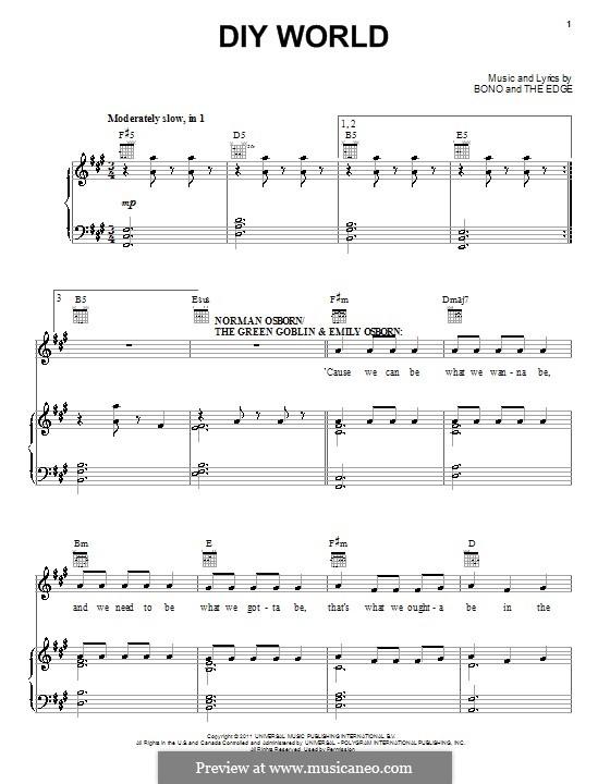 DIY World: Para vocais e piano (ou Guitarra) by Bono, The Edge