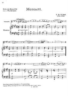Menuett in A-Dur, H 169 Wq 112:16: Für Cello und Klavier by Carl Philipp Emanuel Bach