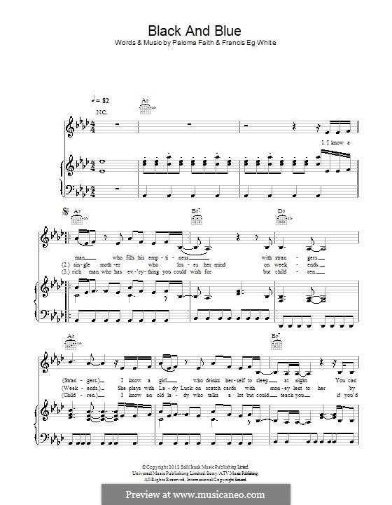 Black and Blue: Para vocais e piano (ou Guitarra) by Eg White, Paloma Faith