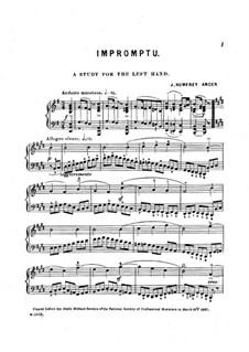 Impromptu. Study for the Left Hand: para um único musico (Editado por H. Bulow) by Joseph Humfrey Anger
