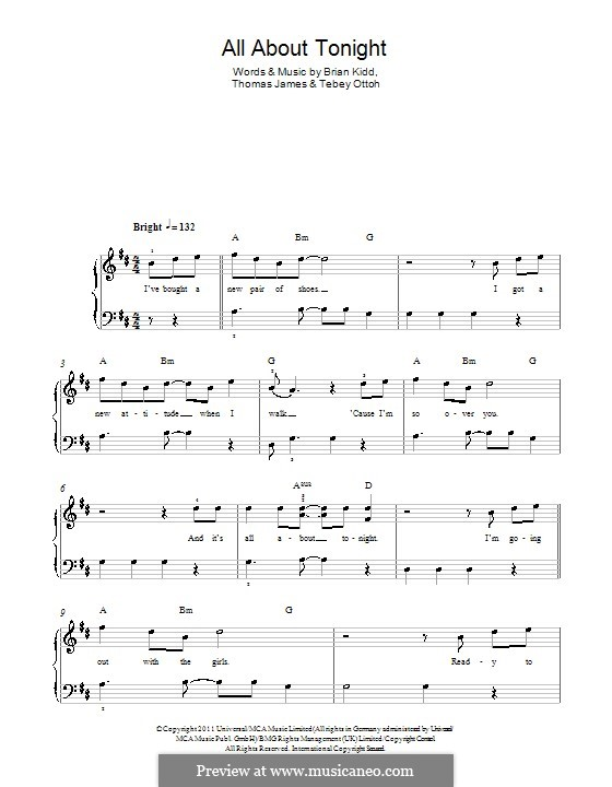 All About Tonight (Pixie Lott): Para Piano by Brian Kidd, Tebey Ottoh, Thomas James