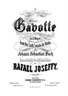 Partita for Violin No.3 in E Major, BWV 1006: Gavotte. Arrangement for the left Hand alone by Johann Sebastian Bach