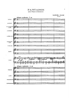 Fantasia for Piano and Orchestra, Op.111: Partitura completa by Gabriel Fauré