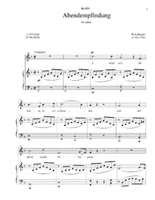 Abendempfindung, K.523: Piano-vocal score, solo part (with accompaniment track) by Wolfgang Amadeus Mozart