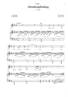 Abendempfindung, K.523: Piano-vocal score, solo part  by Wolfgang Amadeus Mozart