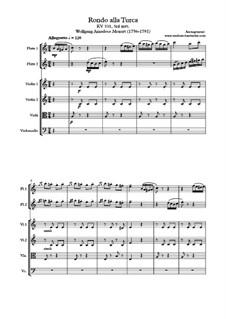Rondo alla turca: para orquestra de salão by Wolfgang Amadeus Mozart