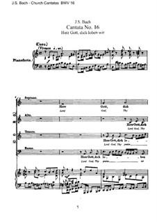 Herr Gott, dich loben wir, BWV 16: Partitura Piano-vocal by Johann Sebastian Bach