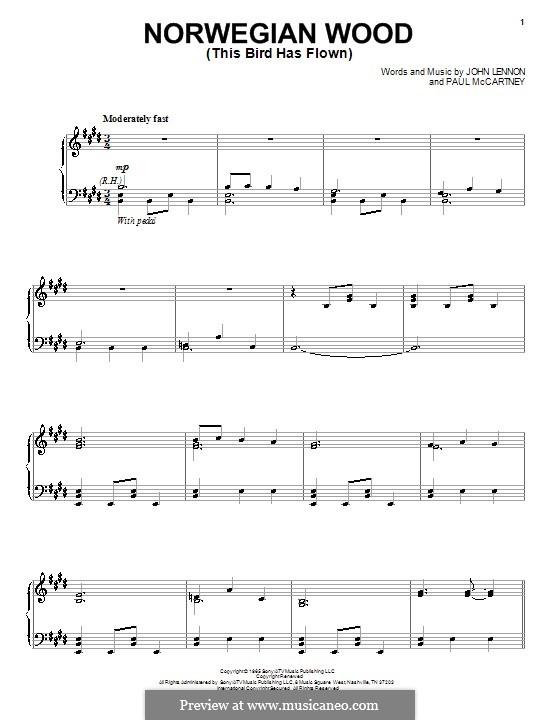 Norwegian Wood (This Bird Has Flown): Para vocais e piano by John Lennon, Paul McCartney