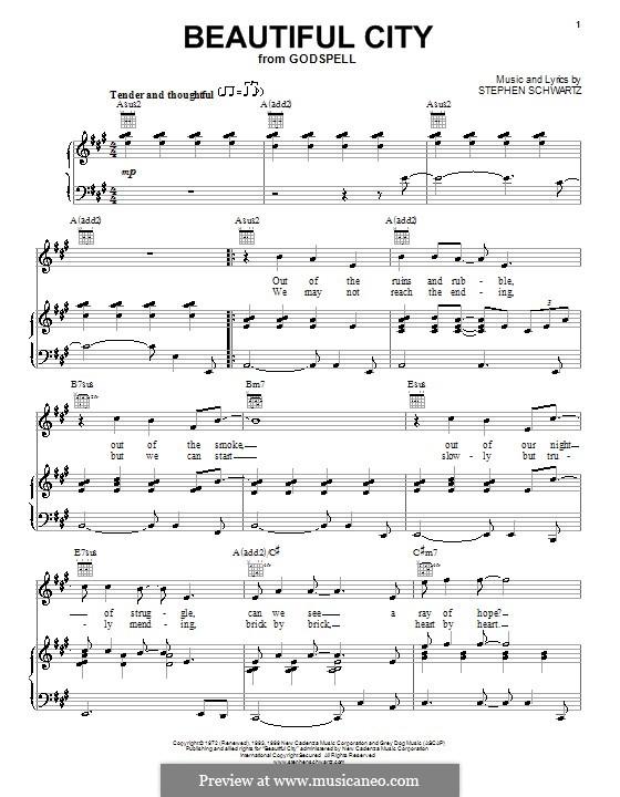Beautiful City: Para vocais e piano (ou Guitarra) by Stephen Schwartz