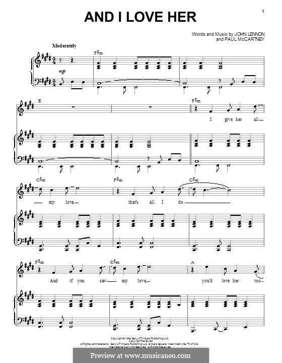 And I Love Her (The Beatles): Para vocais e piano by John Lennon, Paul McCartney