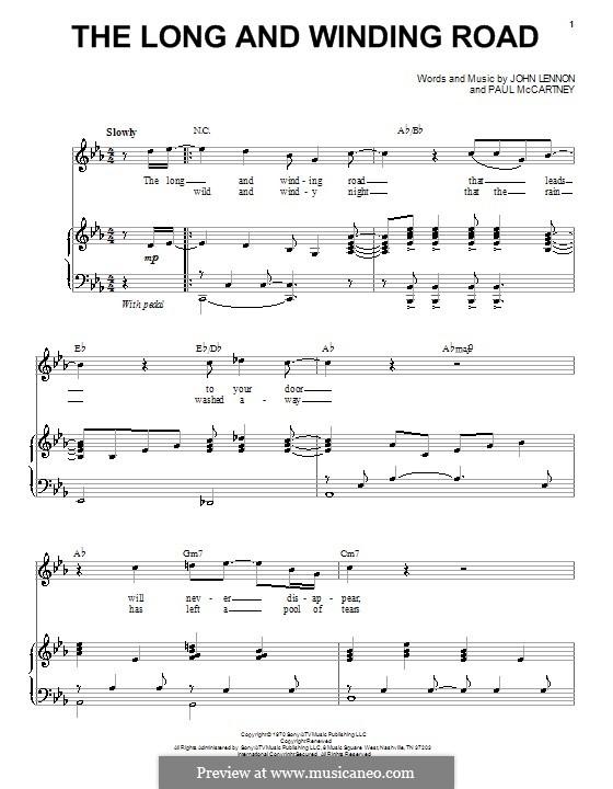The Long and Winding Road (The Beatles): Para vocais e piano by John Lennon, Paul McCartney