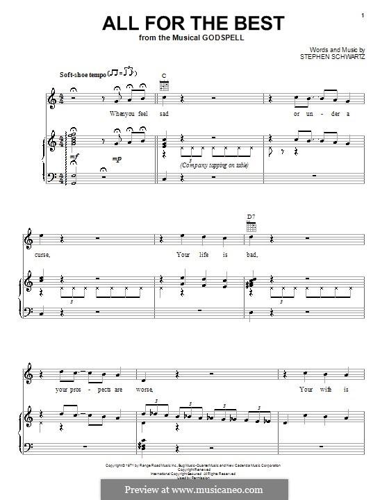 All for the Best: Para vocais e piano (ou Guitarra) by Stephen Schwartz