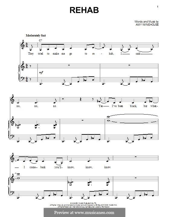 Rehab: Para vocais e piano by Amy Winehouse