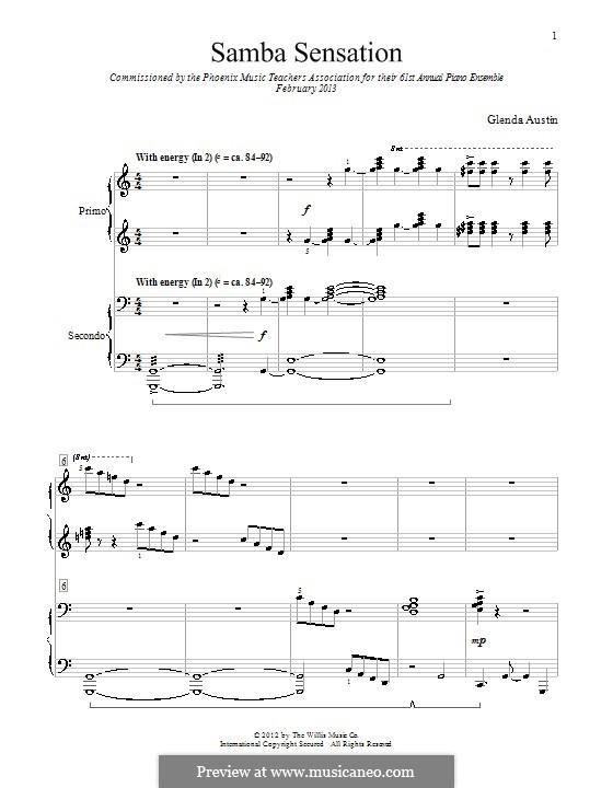 Samba Sensation: para piano de quadro mãos by Glenda Austin
