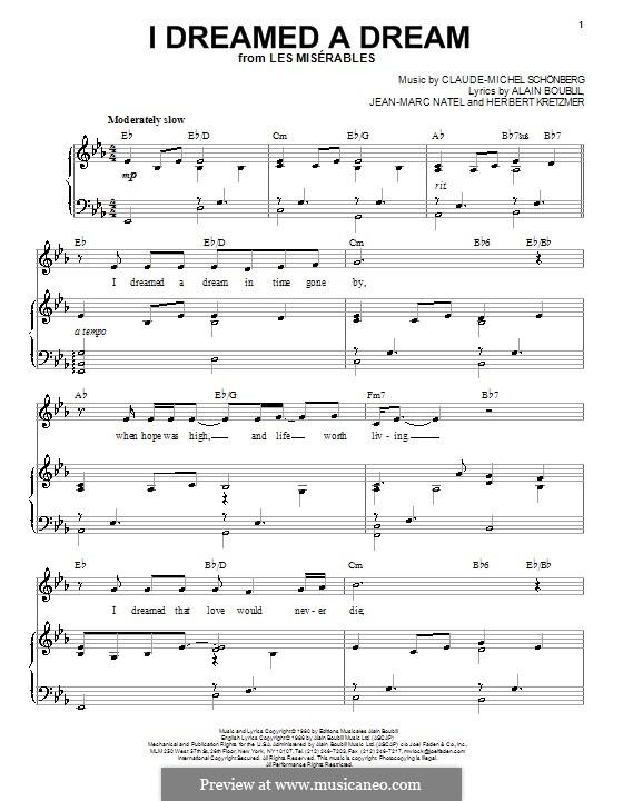 I Dreamed a Dream: Para vocais e piano by Claude-Michel Schönberg