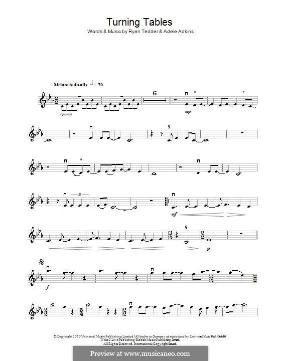 Turning Tables: para violino by Adele, Ryan B Tedder