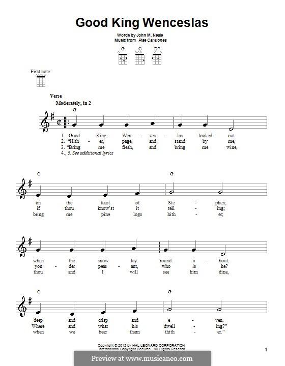 Good King Wenceslas: para ukulele by folklore