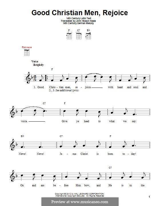 Good Christian Men, Rejoice: para ukulele by folklore
