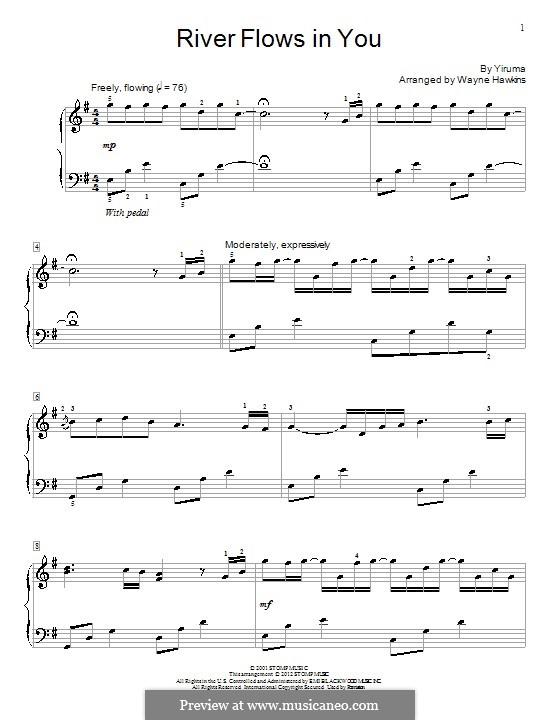 River Flows in You: para piano (com dedilhado) by Yiruma