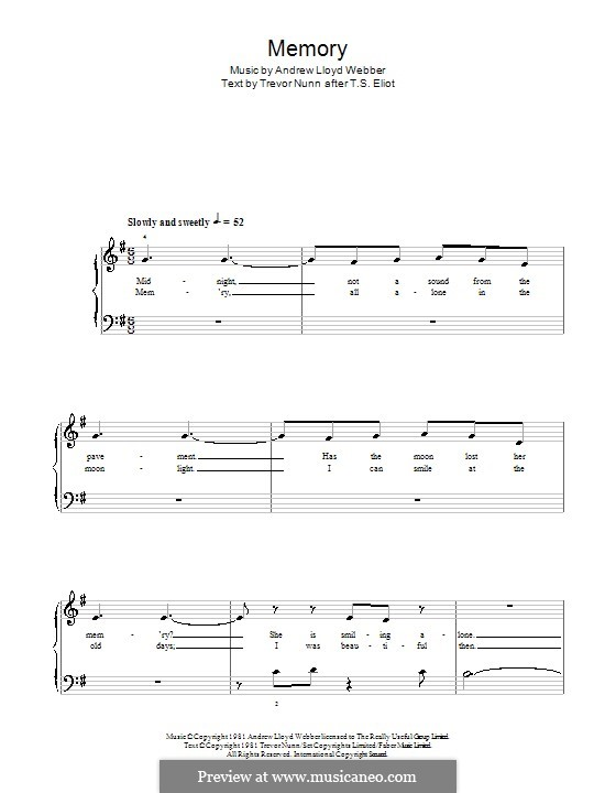 Memory (from Cats): For piano with lyrics by Andrew Lloyd Webber