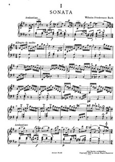 Sonata for Keyboard in G Major, BR A 14, F 7: para um único musico (Editado por H. Bulow) by Wilhelm Friedemann Bach
