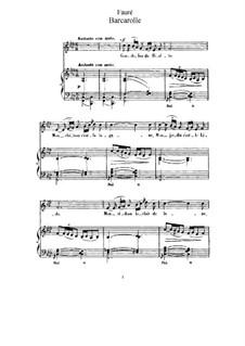 Three Songs, Op.7: No.3 Barcarolle by Gabriel Fauré