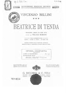 Beatrice di Tenda: Partitura Piano-vocal by Vincenzo Bellini
