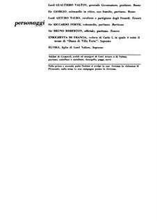 I puritani (The Puritans): Partitura Piano-vocal by Vincenzo Bellini