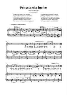 Finestra che lucevi: For voice and piano (F minor) by Vincenzo Bellini