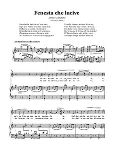 Finestra che lucevi: For voice and piano (A minor) by Vincenzo Bellini