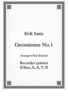 No.1: For recorder quintet T/A, B, B, Gb, CB – score by Erik Satie