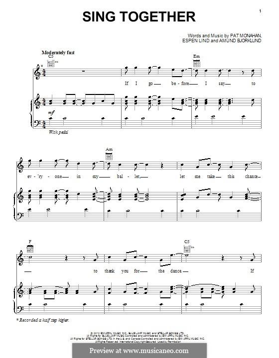 Sing Together (Train): Para vocais e piano (ou Guitarra) by Amund Bjorklund, Espen Lind, Patrick Monahan