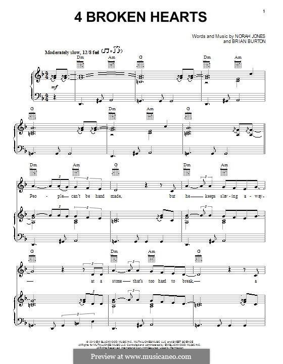 4 Broken Hearts: Para vocais e piano (ou Guitarra) by Brian Burton