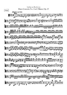 Concerto for Piano and Orchestra No.3, Op.37: parte viola by Ludwig van Beethoven