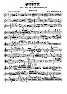 String Quintet No.1 in E Flat Major, Op.4: violino parte I by Ludwig van Beethoven