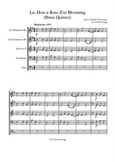 Lo, How a Rose E'er Blooming: Para quinteto de metais by Michael Praetorius
